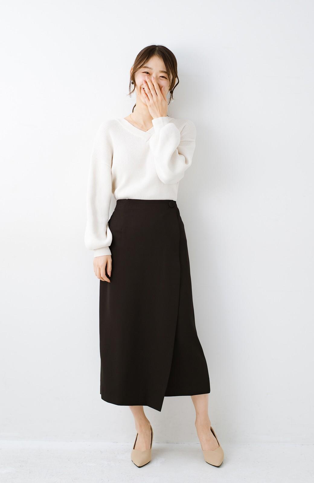 haco! いざというとき困らないための きちんと見えするラップスカート by que made me <ブラック>の商品写真9