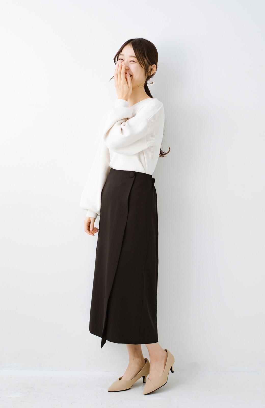 haco! いざというとき困らないための きちんと見えするラップスカート by que made me <ブラック>の商品写真13