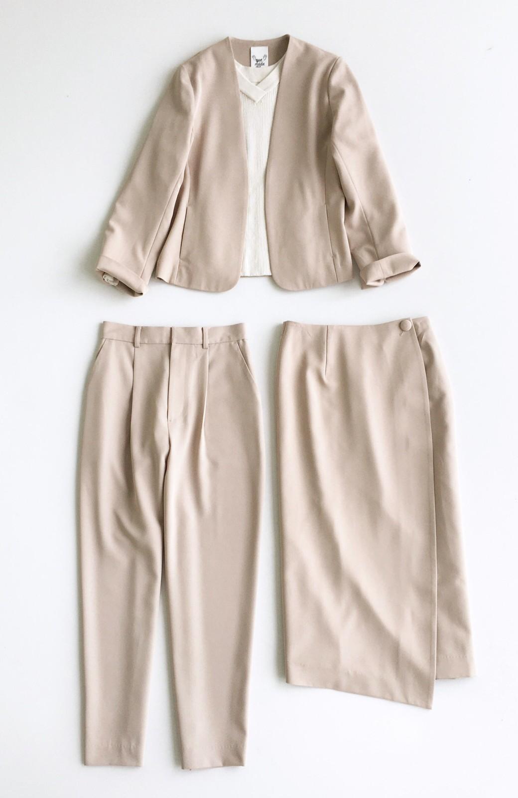 haco! いざというとき困らないための 大人のフォーマルジャケット・パンツ・スカート3点セット by que made me <ベージュ>の商品写真1