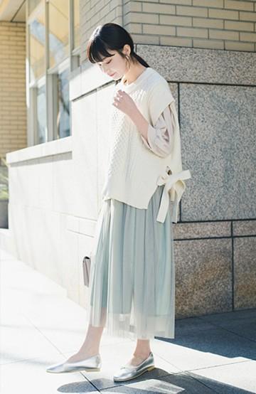 haco! 着るだけでルンとした気分になる! 長ーーい季節着られてずっと使えるオトナのためのチュールスカート <グリーン>の商品写真