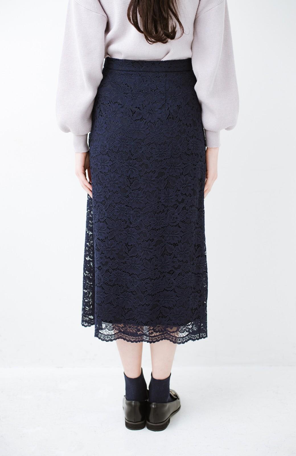 haco! シンプルトップスを合わせるだけで華やか! 魅惑の女っぽレーススカート <ネイビー>の商品写真7