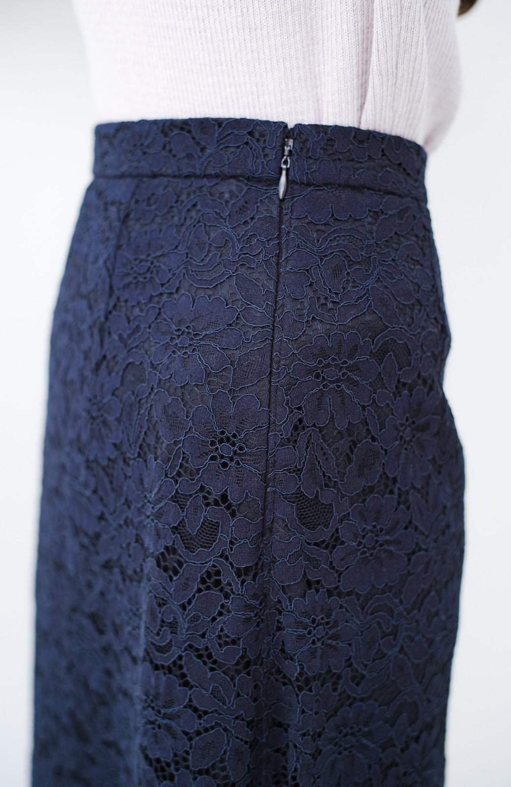 haco! シンプルトップスを合わせるだけで華やか! 魅惑の女っぽレーススカート <ネイビー>の商品写真8