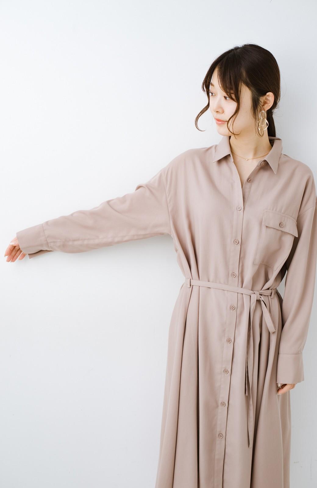 haco! 長ーーい季節着られる! 単品づかいはもちろん重ね着も楽しいシャツワンピース  <ベージュ>の商品写真6