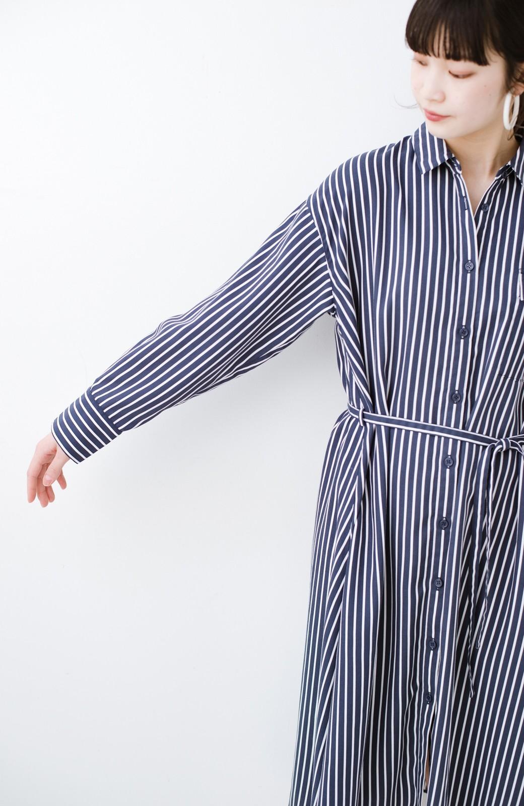 haco! 長ーーい季節着られる! 単品づかいはもちろん重ね着も楽しいシャツワンピース  <ネイビー>の商品写真6