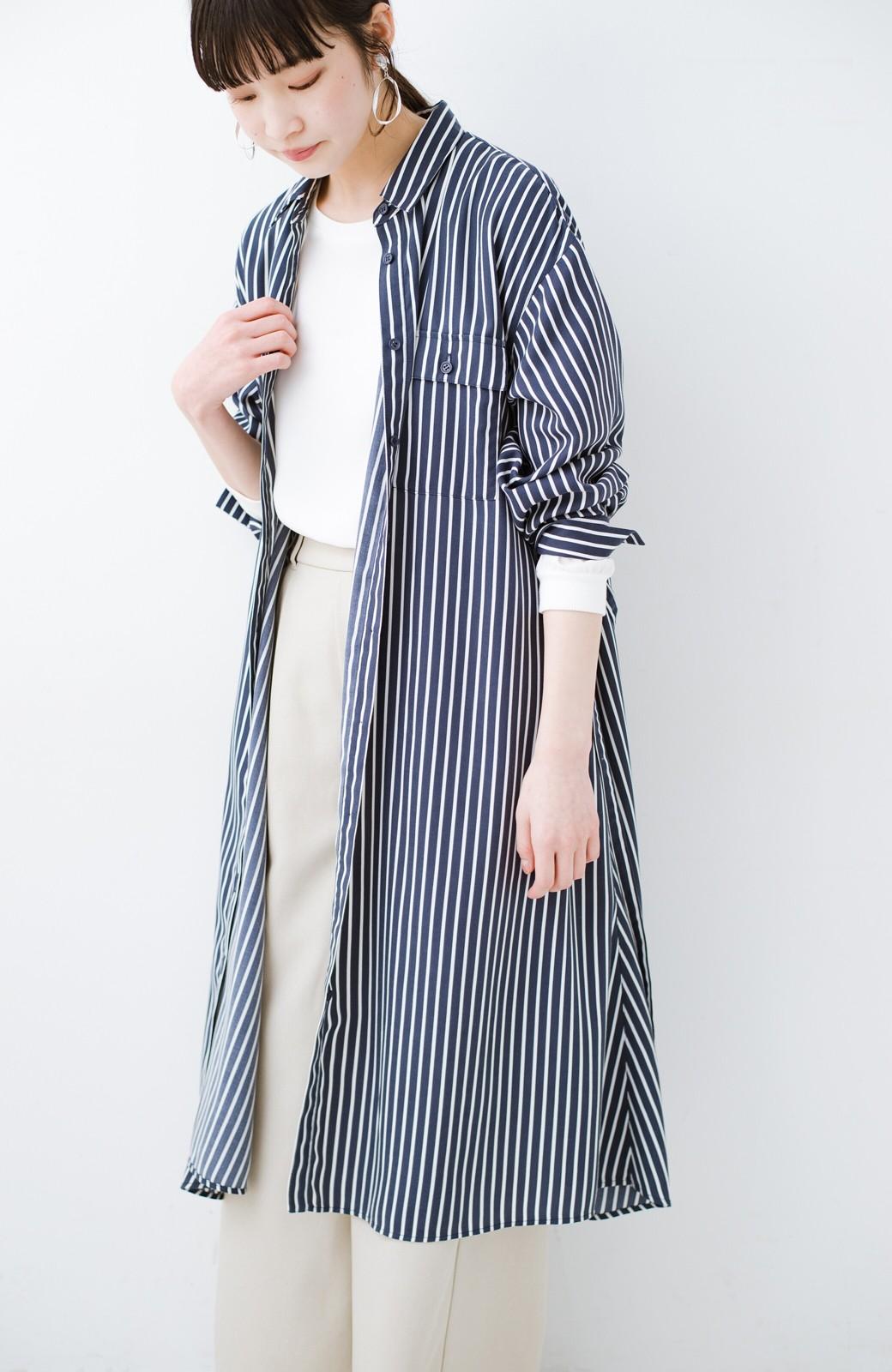 haco! 長ーーい季節着られる! 単品づかいはもちろん重ね着も楽しいシャツワンピース  <ネイビー>の商品写真12