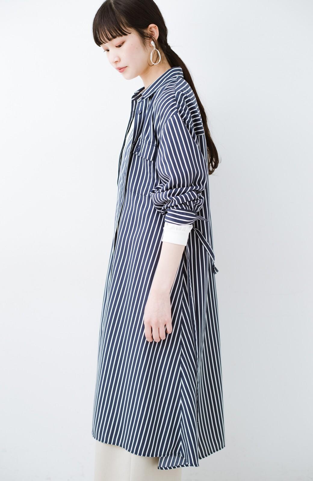 haco! 長ーーい季節着られる! 単品づかいはもちろん重ね着も楽しいシャツワンピース  <ネイビー>の商品写真24