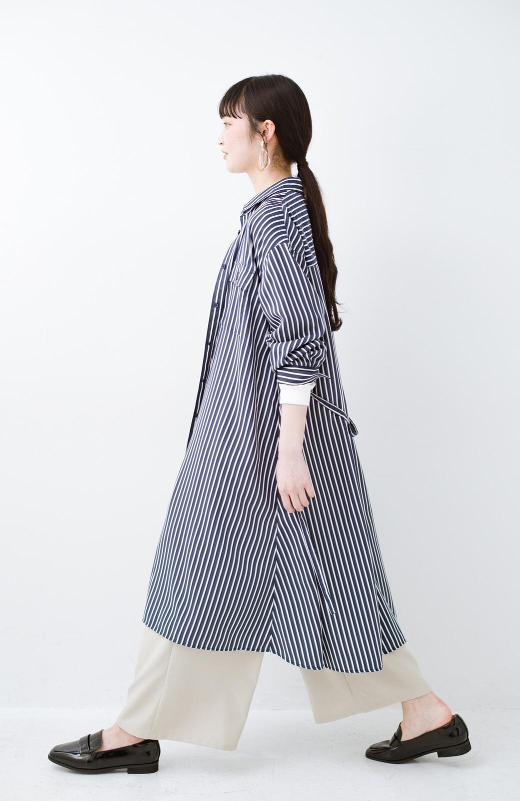 haco! 長ーーい季節着られる! 単品づかいはもちろん重ね着も楽しいシャツワンピース  <ネイビー>の商品写真14