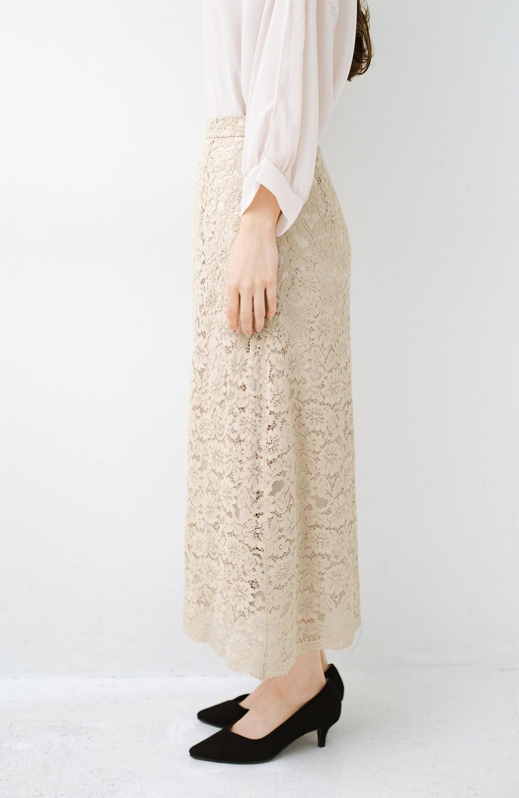 haco! シンプルトップスを合わせるだけで華やか! 魅惑の女っぽレーススカート <ライトベージュ>の商品写真5