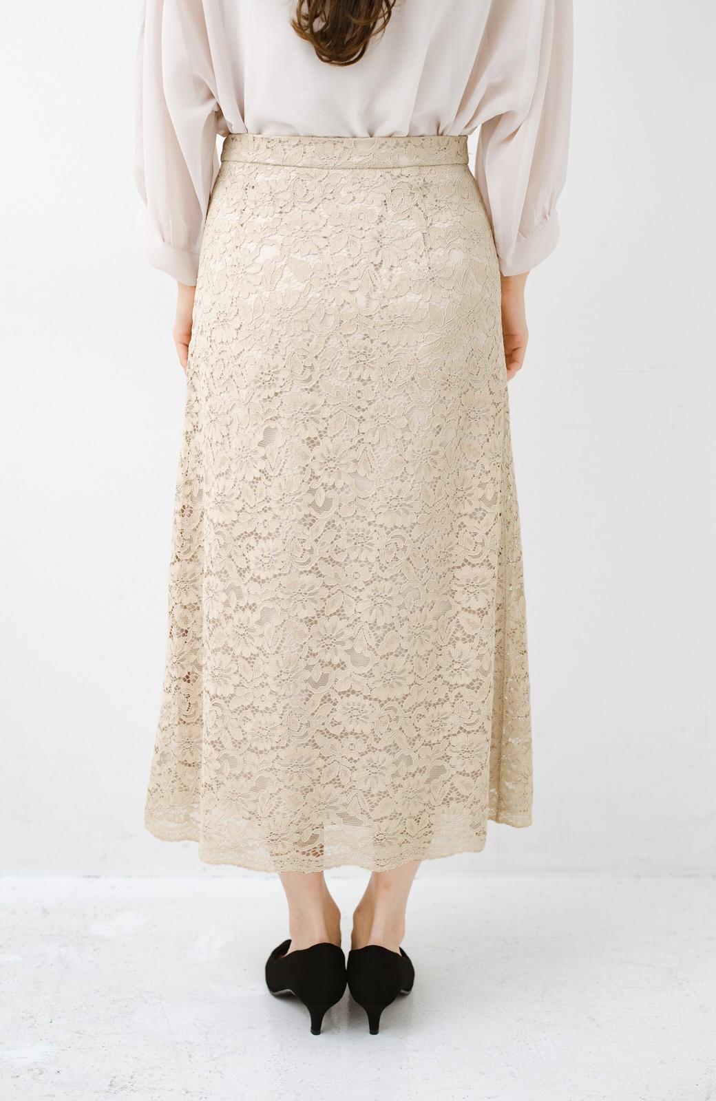 haco! シンプルトップスを合わせるだけで華やか! 魅惑の女っぽレーススカート <ライトベージュ>の商品写真6