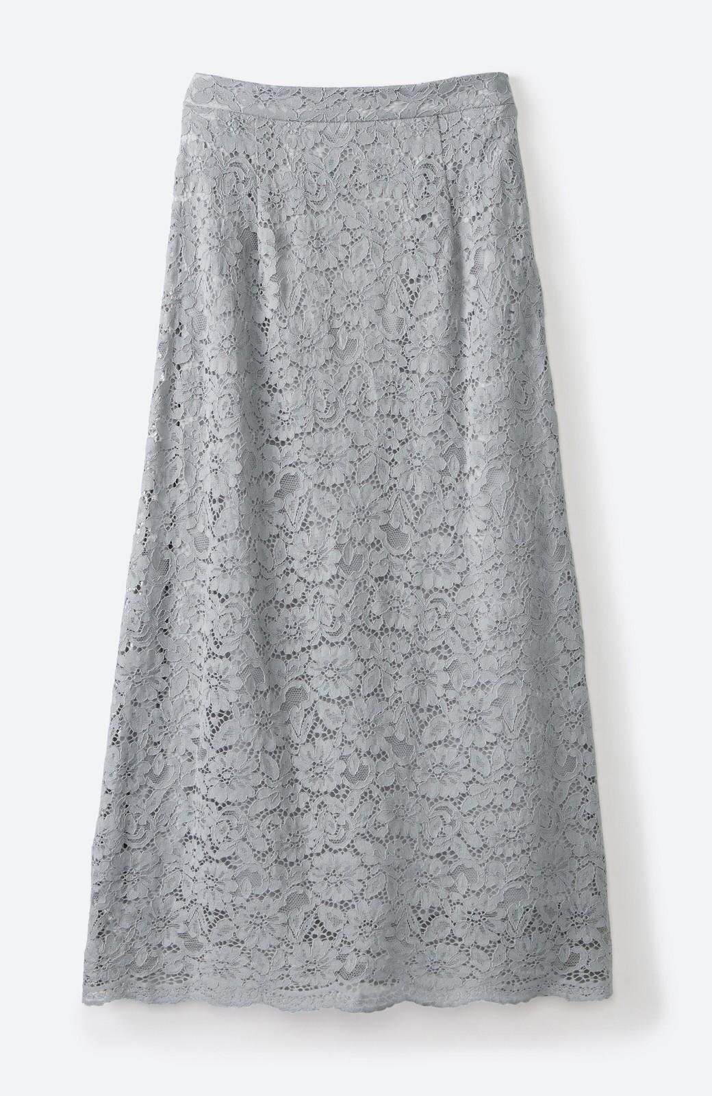 haco! シンプルトップスを合わせるだけで華やか! 魅惑の女っぽレーススカート <グレイッシュブルー>の商品写真16