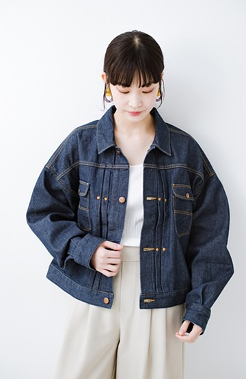 haco! Wrangler ワイドシルエットがかわいいデニムジャケット <ネイビー>の商品写真