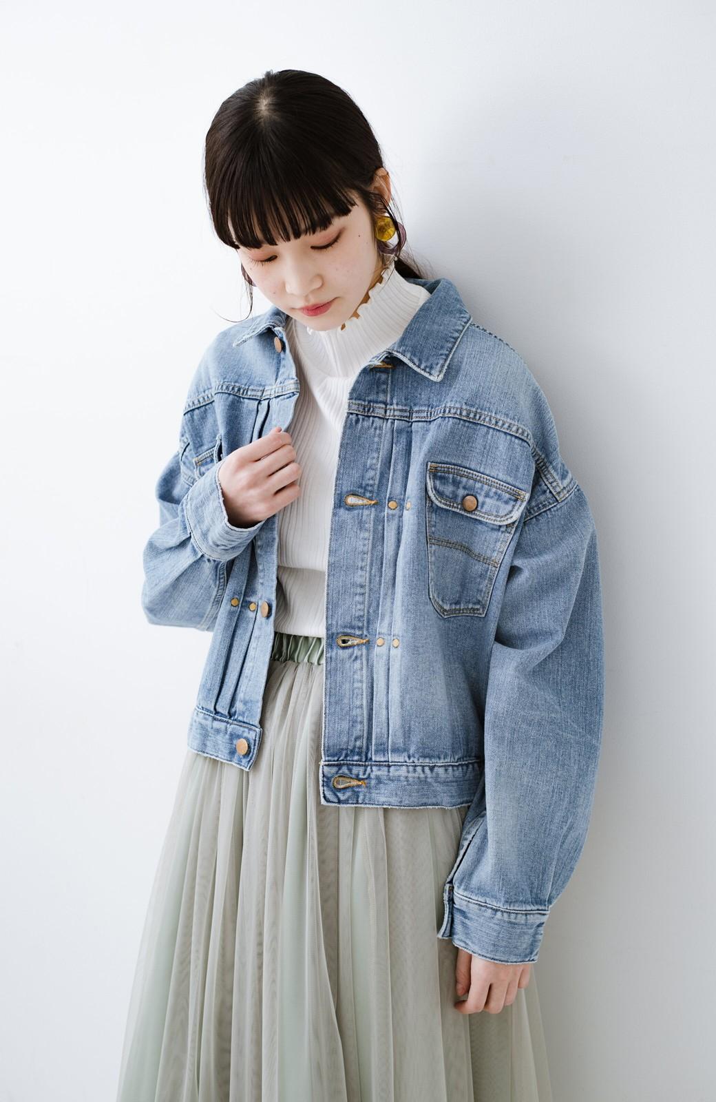 haco! Wrangler ワイドシルエットがかわいいデニムジャケット <ブルー>の商品写真5