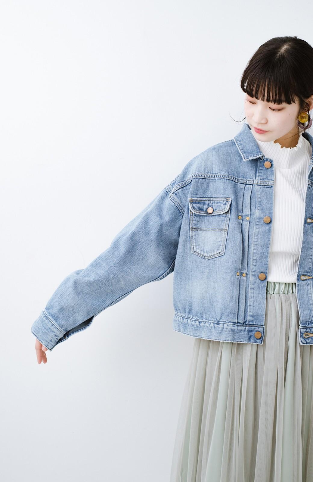 haco! Wrangler ワイドシルエットがかわいいデニムジャケット <ブルー>の商品写真10