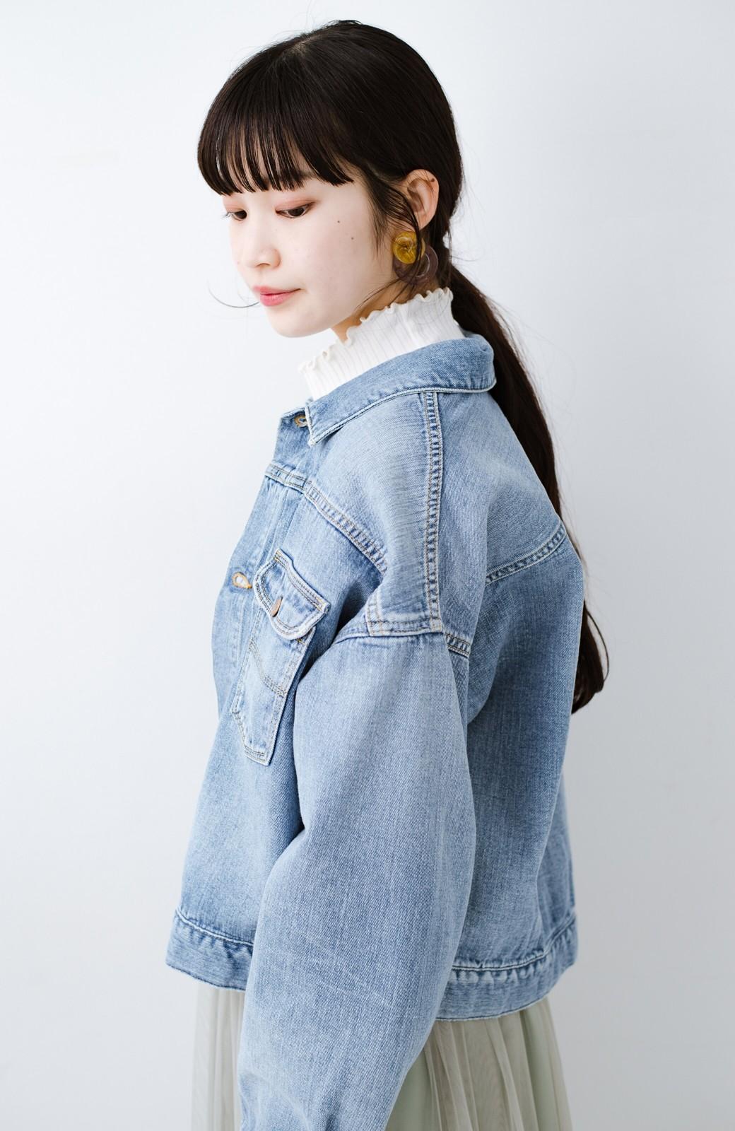 haco! Wrangler ワイドシルエットがかわいいデニムジャケット <ブルー>の商品写真11