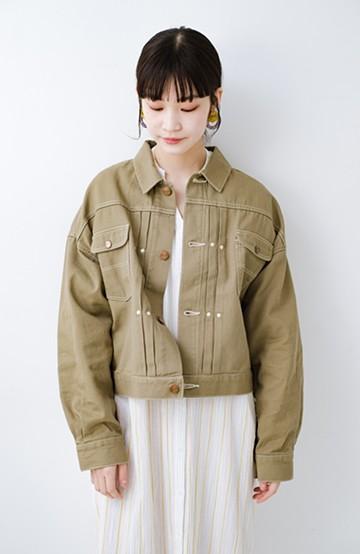 haco! Wrangler ワイドシルエットがかわいいデニムジャケット <ライトベージュ>の商品写真