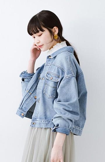 haco! Wrangler ワイドシルエットがかわいいデニムジャケット <ブルー>の商品写真