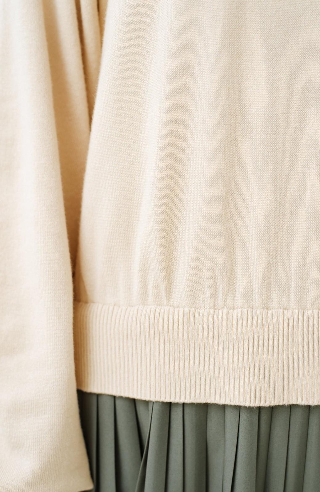 haco! 寝坊した朝もこれさえあれば安心!ニットとプリーツスカートのドッキングワンピース <アイボリー>の商品写真10