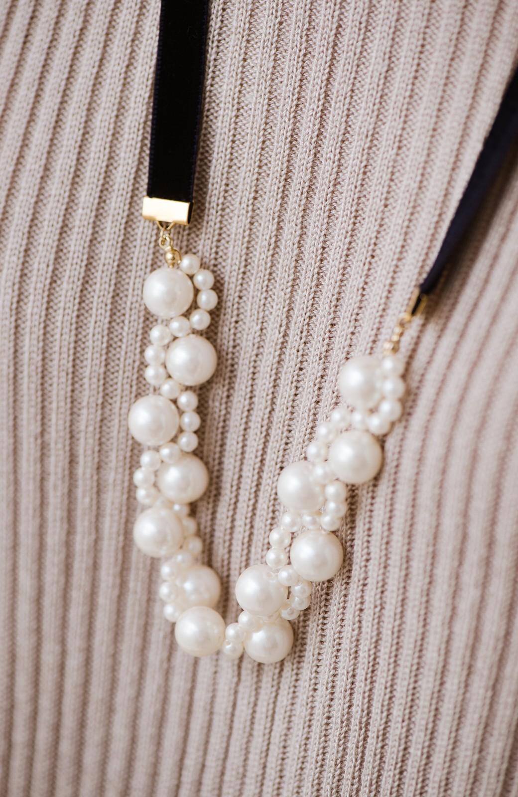 haco! ぱっとつけてぐっと華やぐ 結婚式にも便利なプラパールの編み込みネックレス <ネイビー>の商品写真12