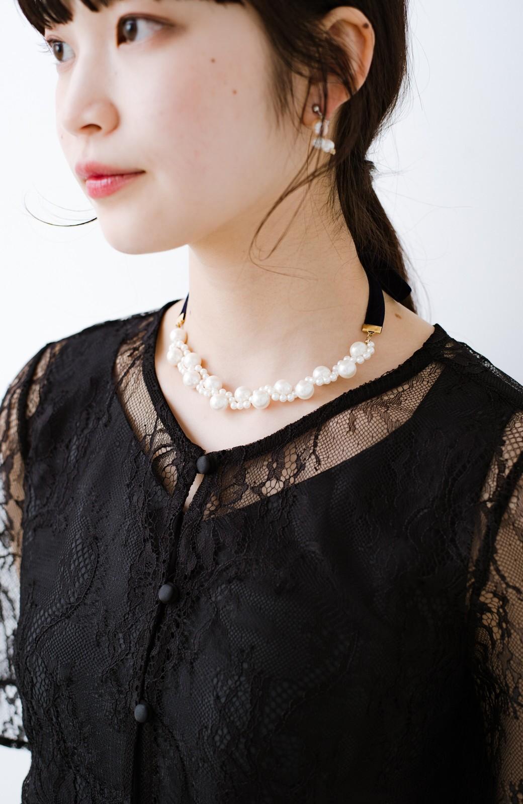 haco! ぱっとつけてぐっと華やぐ 結婚式にも便利なプラパールの編み込みネックレス <ネイビー>の商品写真8