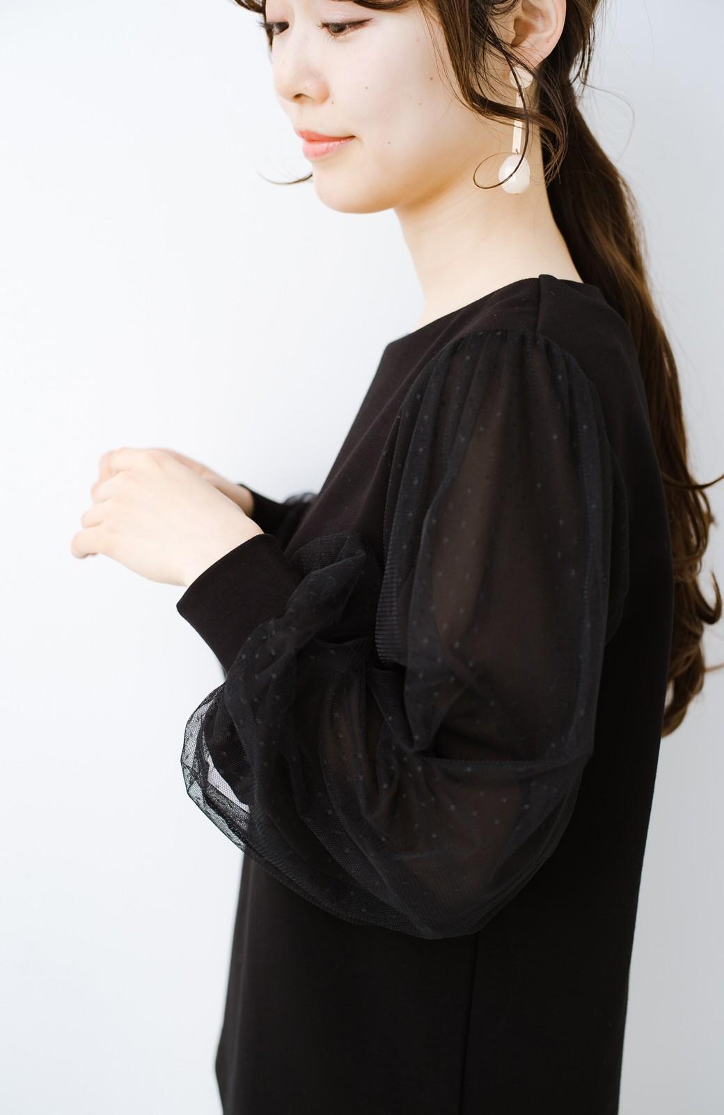 haco!  楽していることがばれない かわいさたっぷり袖チュールトップス <ブラック>の商品写真3