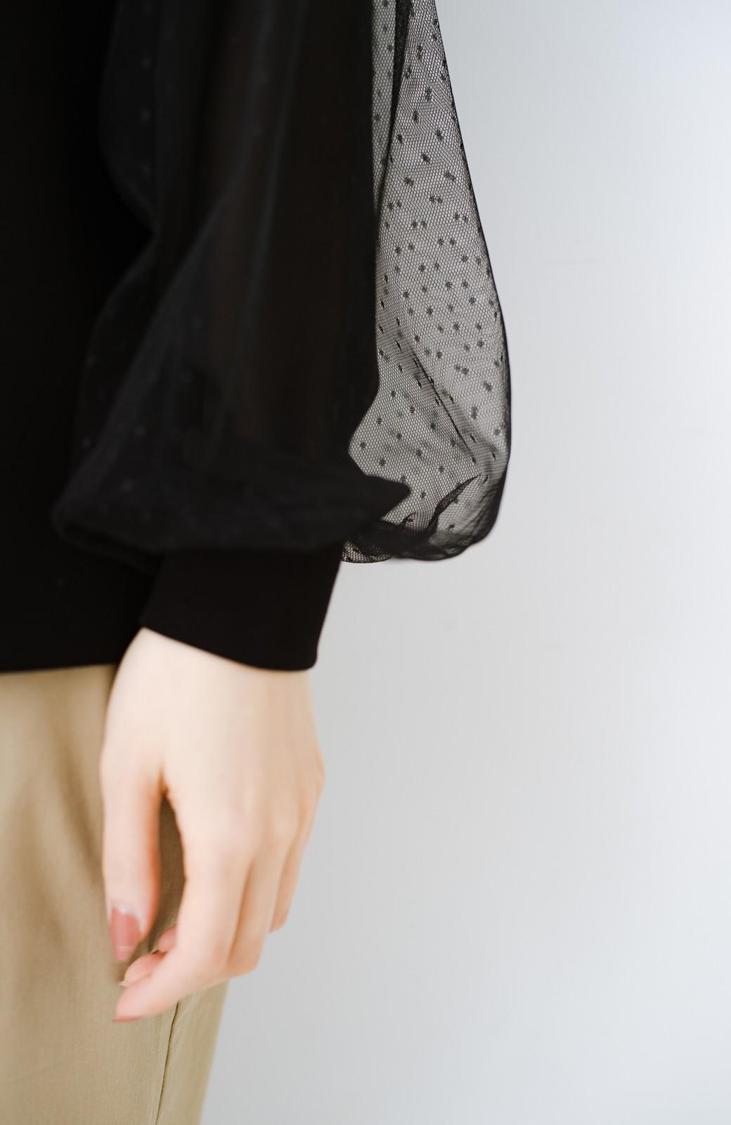 haco!  楽していることがばれない かわいさたっぷり袖チュールトップス <ブラック>の商品写真4