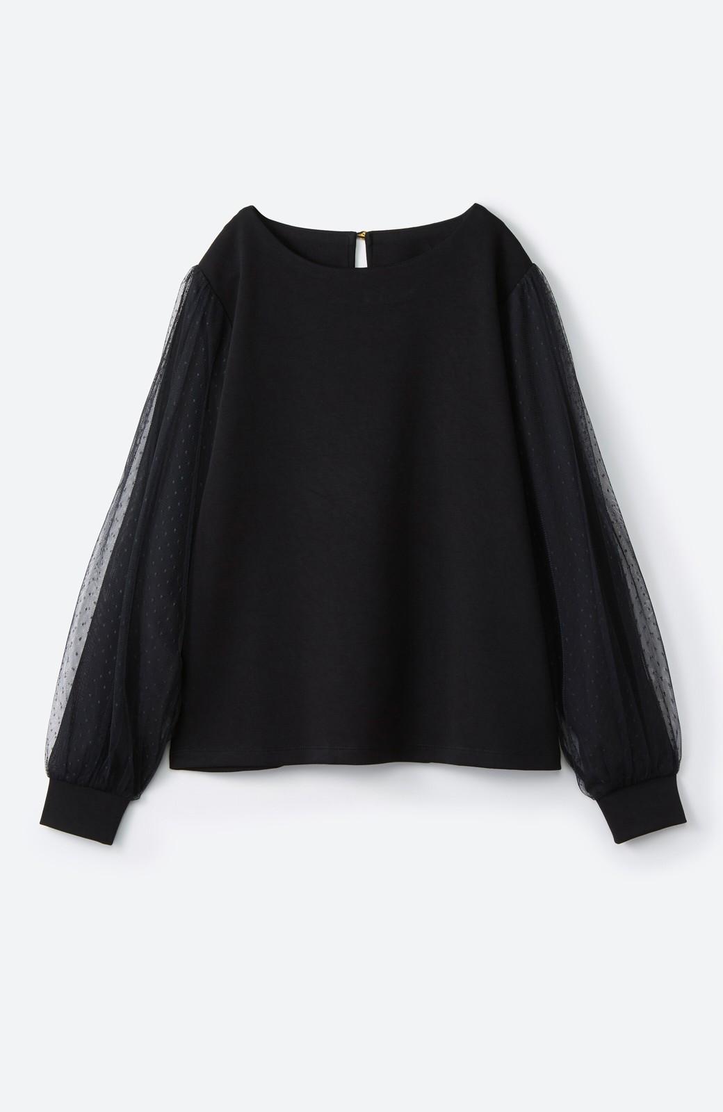 haco!  楽していることがばれない かわいさたっぷり袖チュールトップス <ブラック>の商品写真15