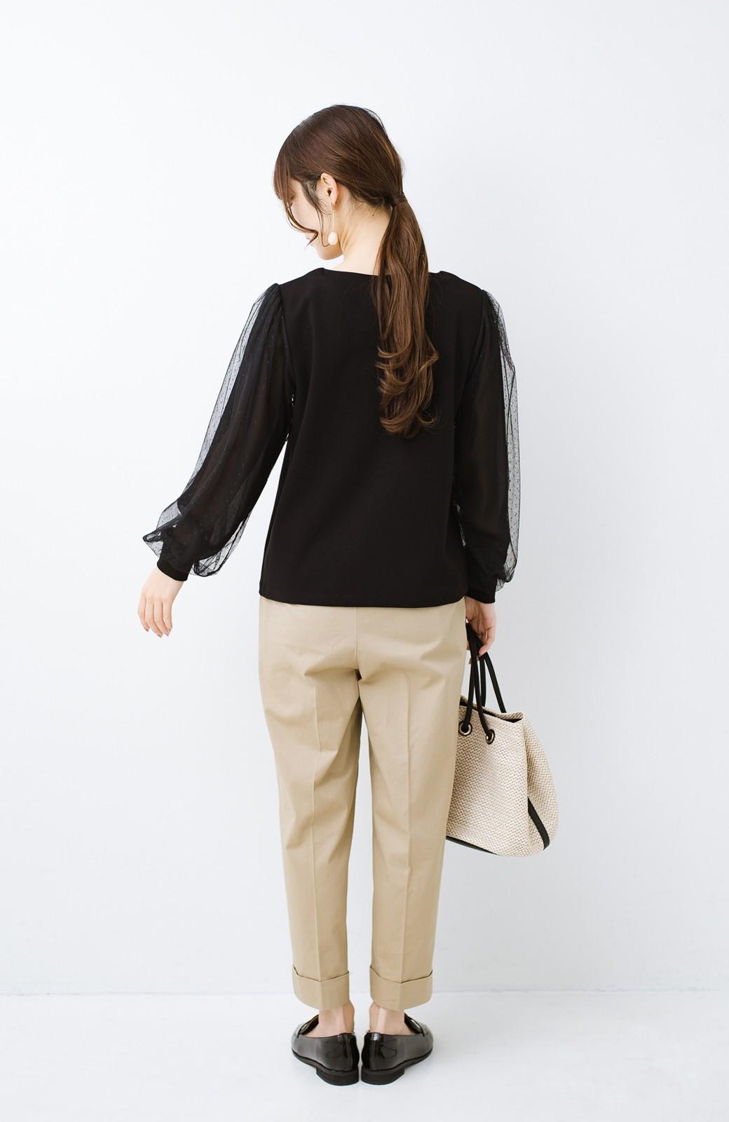 haco!  楽していることがばれない かわいさたっぷり袖チュールトップス <ブラック>の商品写真14