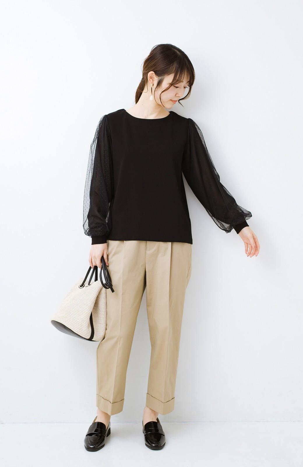 haco!  楽していることがばれない かわいさたっぷり袖チュールトップス <ブラック>の商品写真11