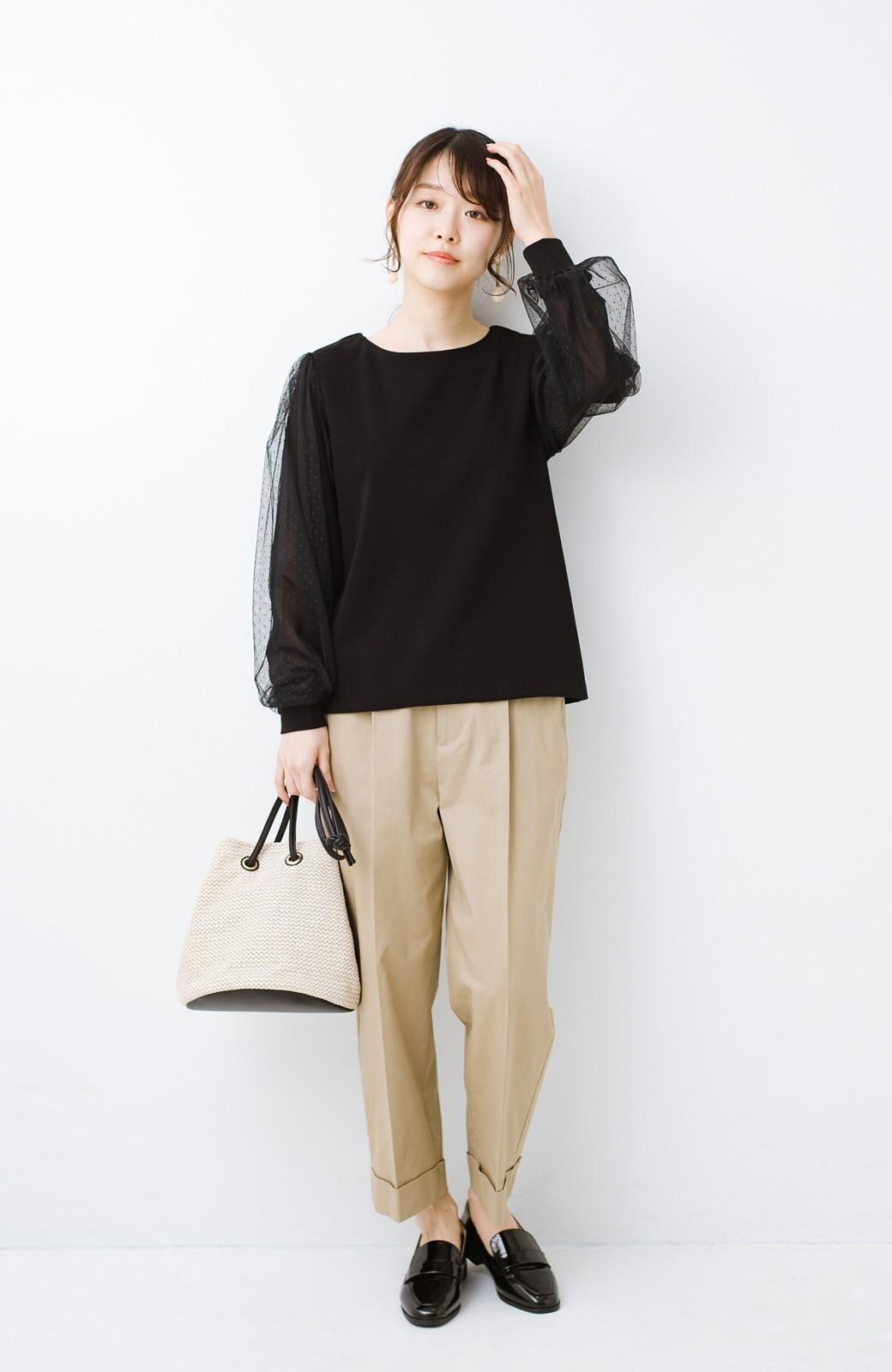 haco!  楽していることがばれない かわいさたっぷり袖チュールトップス <ブラック>の商品写真12