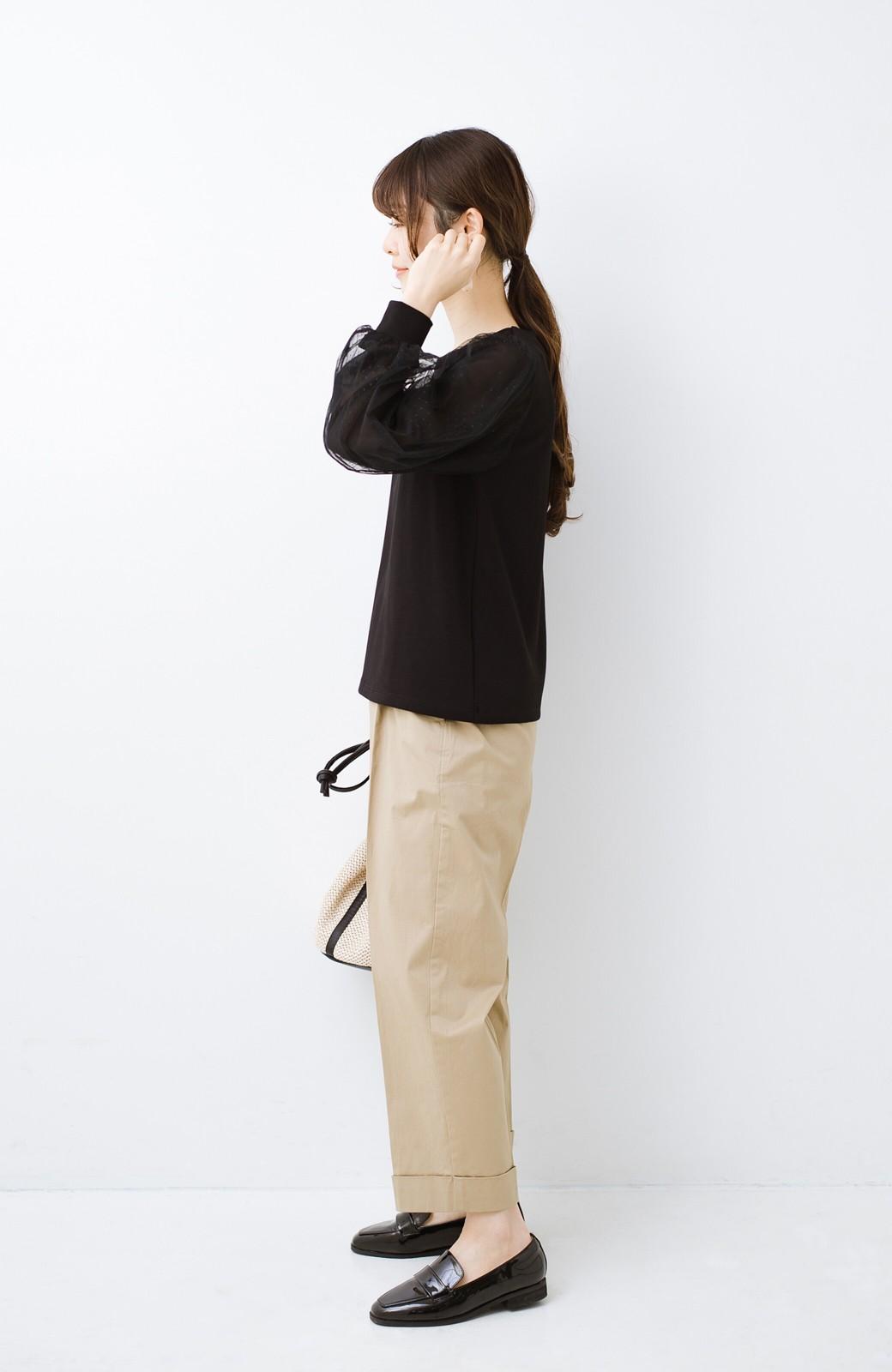 haco!  楽していることがばれない かわいさたっぷり袖チュールトップス <ブラック>の商品写真13