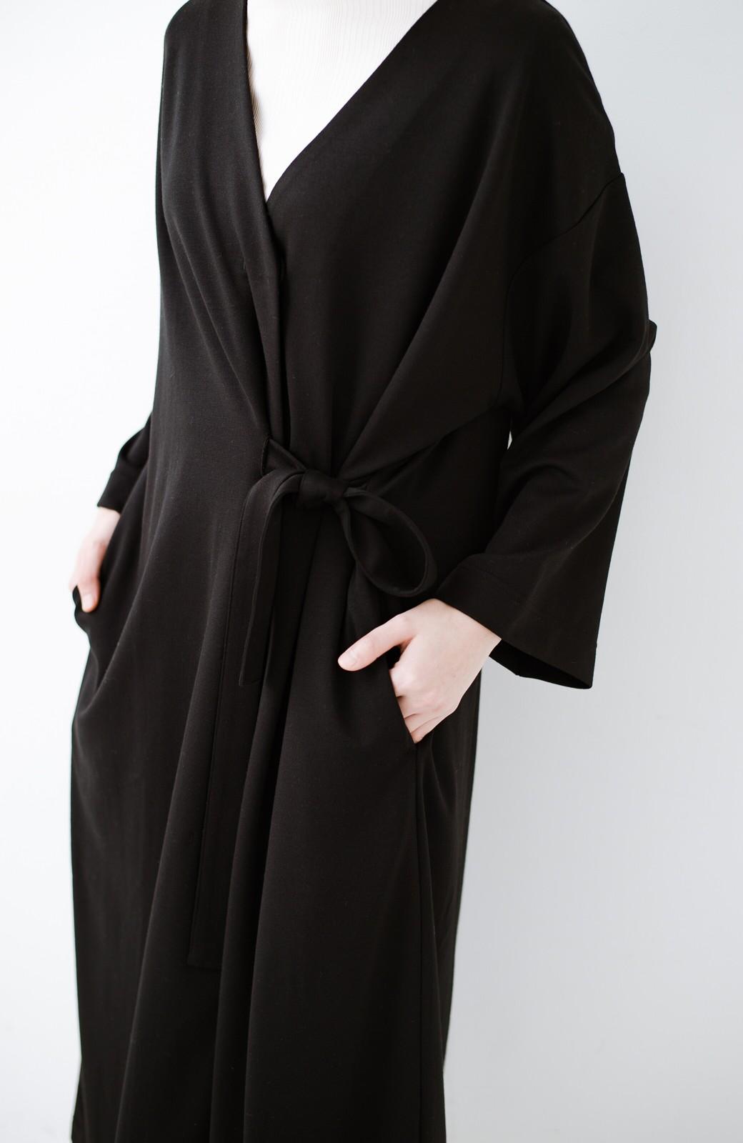 haco! サイドリボンと落ち感が女っぽい 羽織り&重ね着を楽しむカットソーワンピース <ブラック>の商品写真6