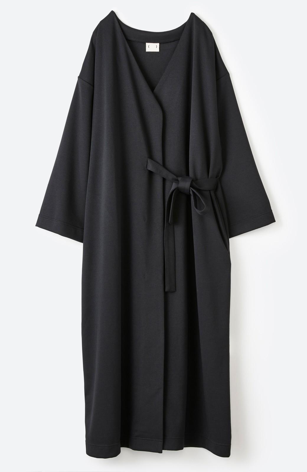 haco! サイドリボンと落ち感が女っぽい 羽織り&重ね着を楽しむカットソーワンピース <ブラック>の商品写真26