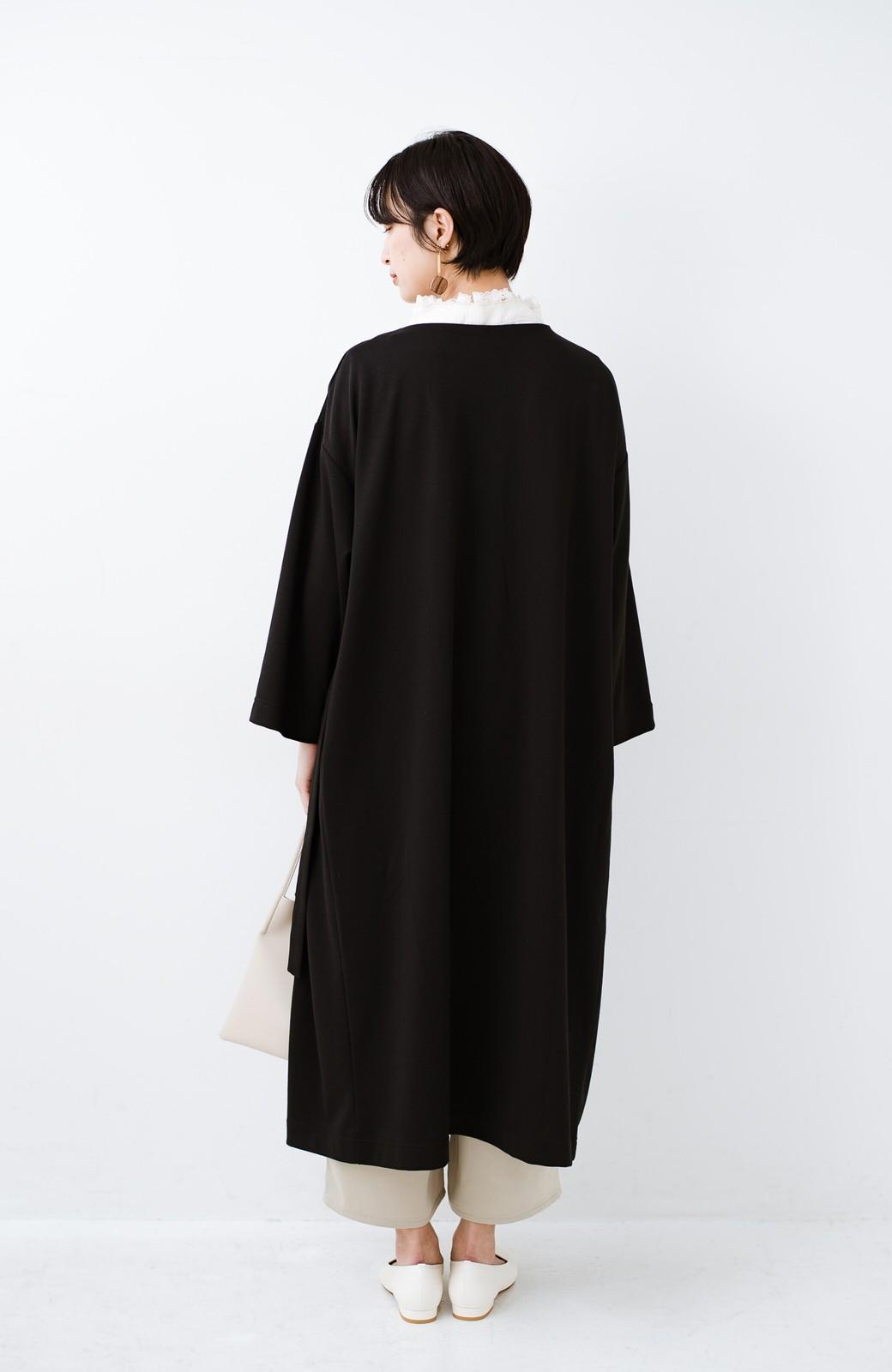 haco! サイドリボンと落ち感が女っぽい 羽織り&重ね着を楽しむカットソーワンピース <ブラック>の商品写真17