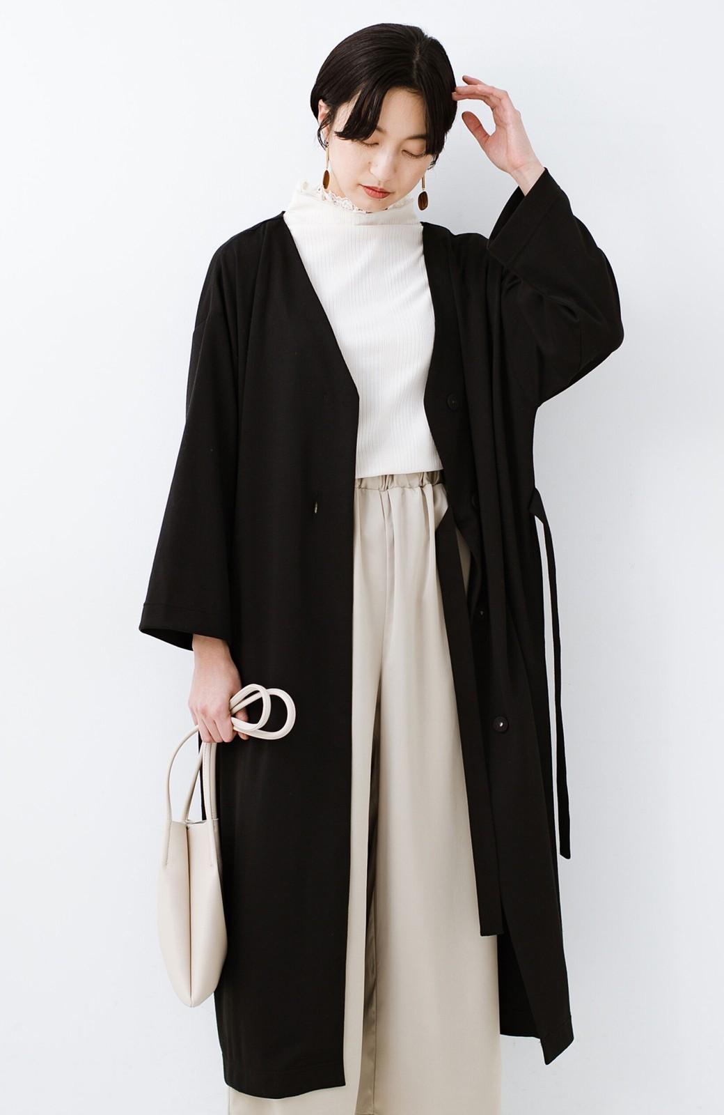 haco! サイドリボンと落ち感が女っぽい 羽織り&重ね着を楽しむカットソーワンピース <ブラック>の商品写真4