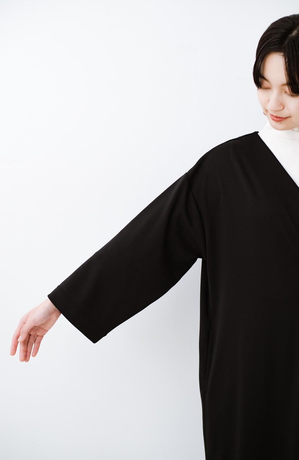 haco! サイドリボンと落ち感が女っぽい 羽織り&重ね着を楽しむカットソーワンピース <ブラック>の商品写真19