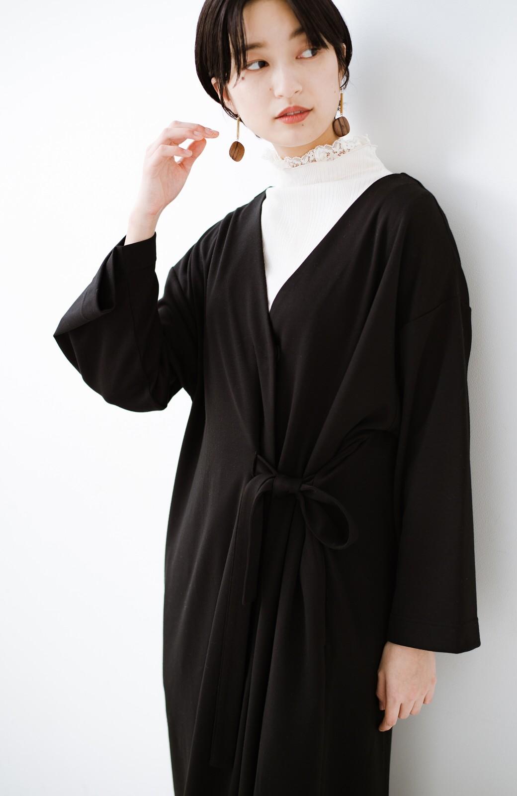 haco! サイドリボンと落ち感が女っぽい 羽織り&重ね着を楽しむカットソーワンピース <ブラック>の商品写真20