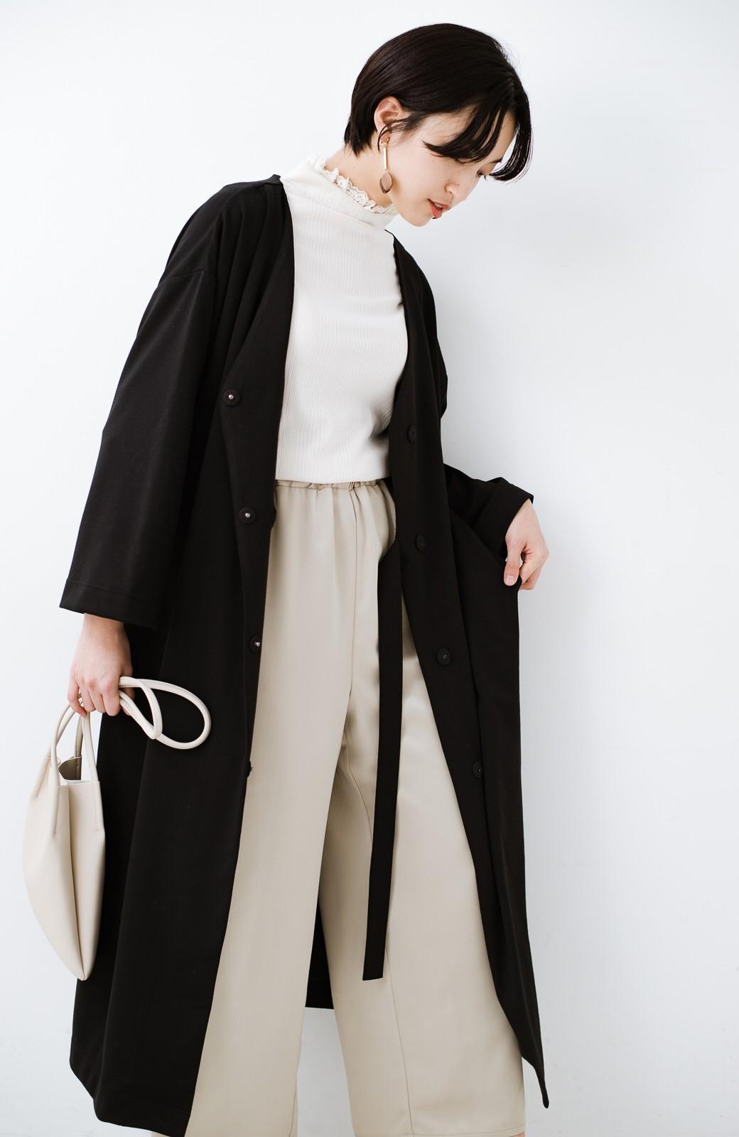 haco! サイドリボンと落ち感が女っぽい 羽織り&重ね着を楽しむカットソーワンピース <ブラック>の商品写真23