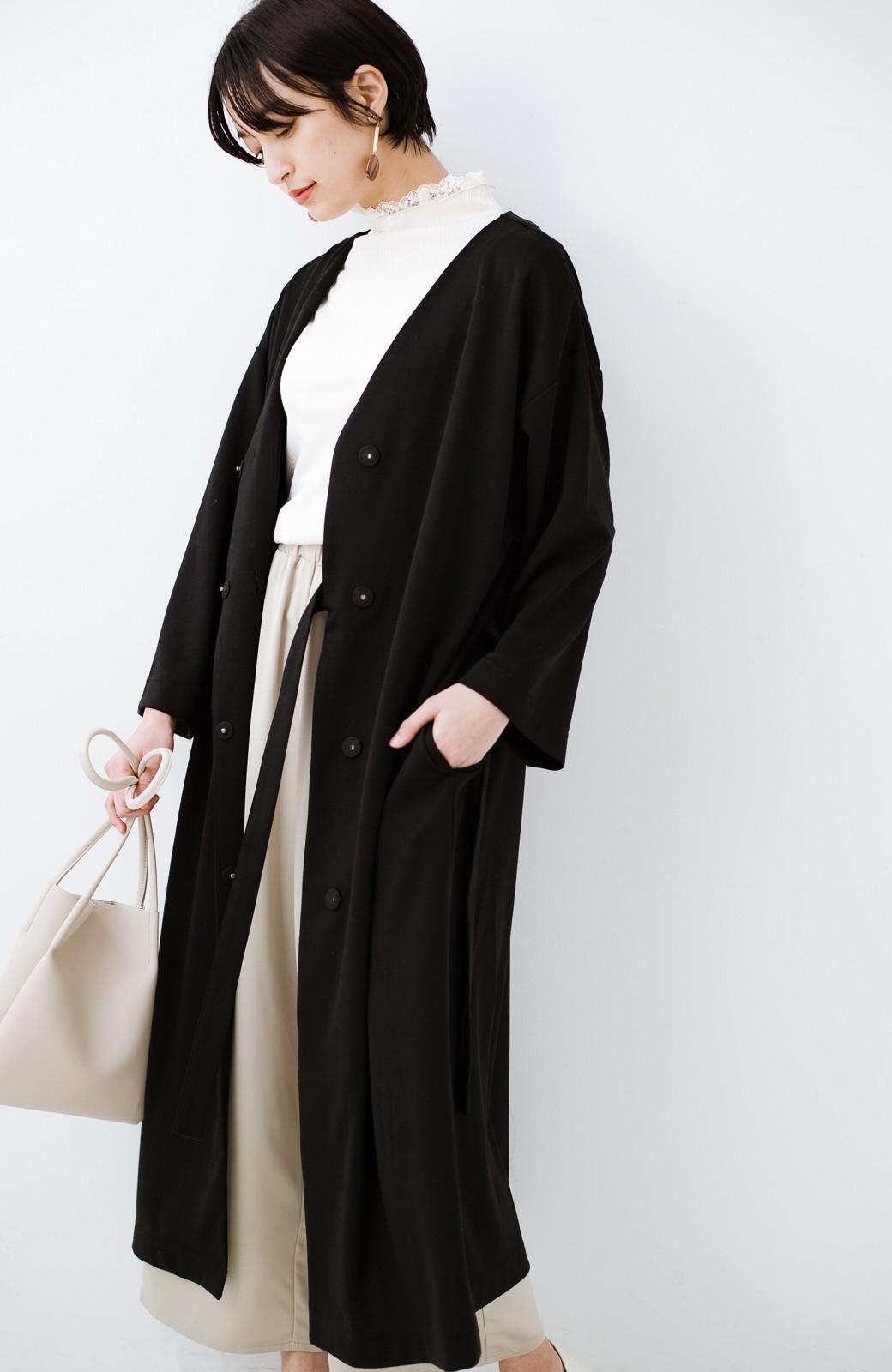 haco! サイドリボンと落ち感が女っぽい 羽織り&重ね着を楽しむカットソーワンピース <ブラック>の商品写真24