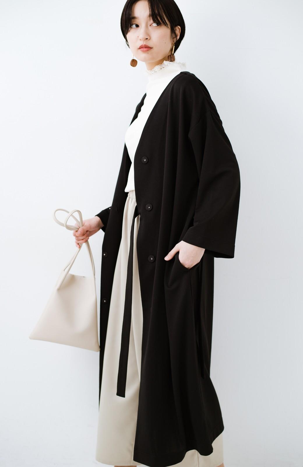 haco! サイドリボンと落ち感が女っぽい 羽織り&重ね着を楽しむカットソーワンピース <ブラック>の商品写真25