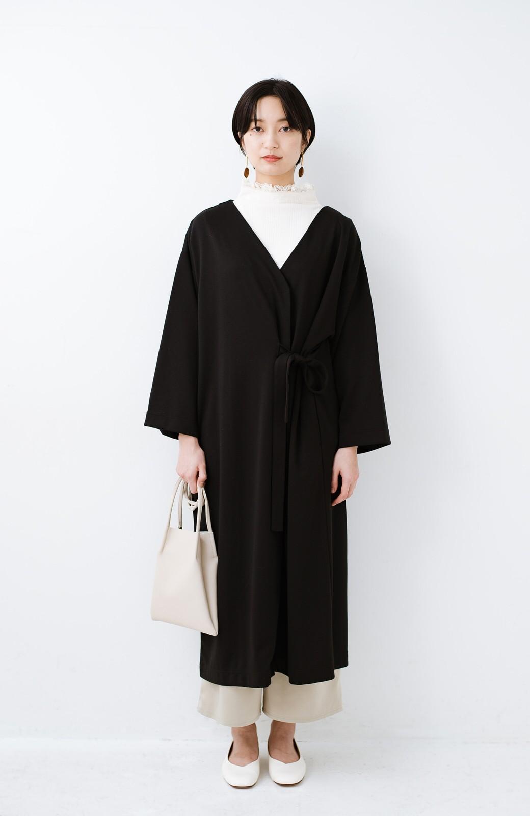 haco! サイドリボンと落ち感が女っぽい 羽織り&重ね着を楽しむカットソーワンピース <ブラック>の商品写真3