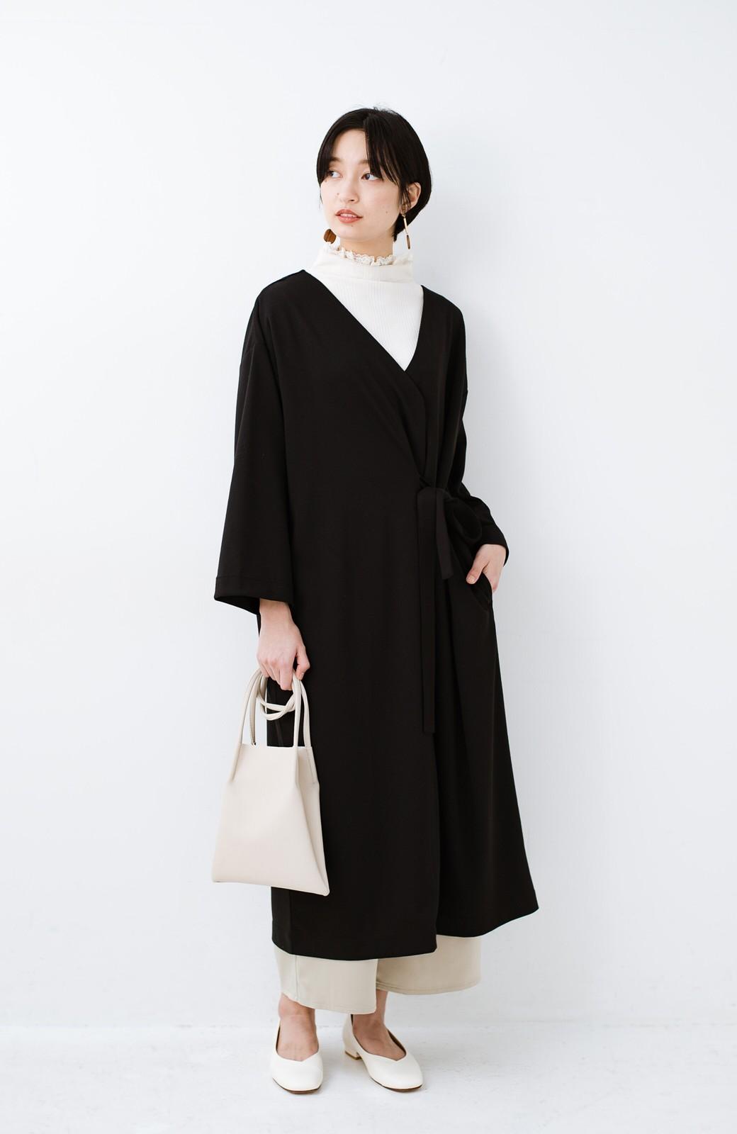 haco! サイドリボンと落ち感が女っぽい 羽織り&重ね着を楽しむカットソーワンピース <ブラック>の商品写真7