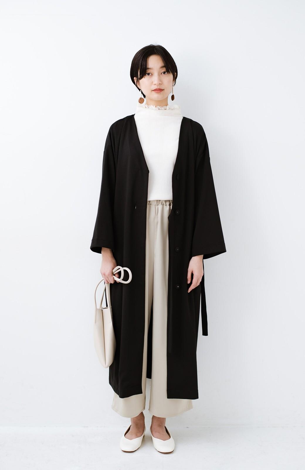 haco! サイドリボンと落ち感が女っぽい 羽織り&重ね着を楽しむカットソーワンピース <ブラック>の商品写真10