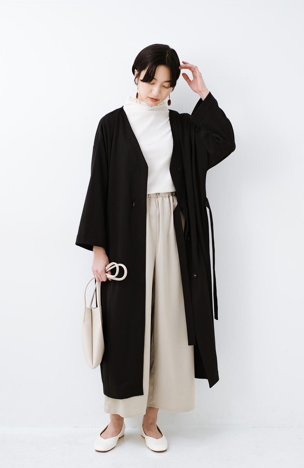 haco! サイドリボンと落ち感が女っぽい 羽織り&重ね着を楽しむカットソーワンピース <ブラック>の商品写真11