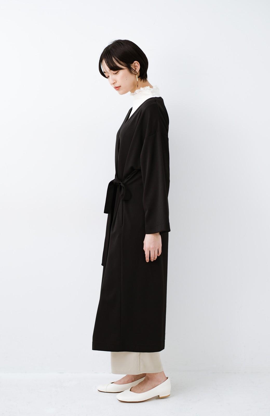 haco! サイドリボンと落ち感が女っぽい 羽織り&重ね着を楽しむカットソーワンピース <ブラック>の商品写真12