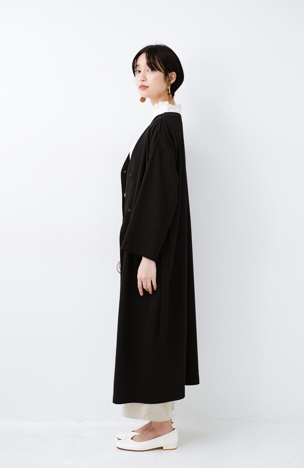 haco! サイドリボンと落ち感が女っぽい 羽織り&重ね着を楽しむカットソーワンピース <ブラック>の商品写真14