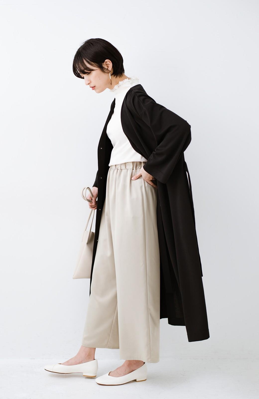 haco! サイドリボンと落ち感が女っぽい 羽織り&重ね着を楽しむカットソーワンピース <ブラック>の商品写真15