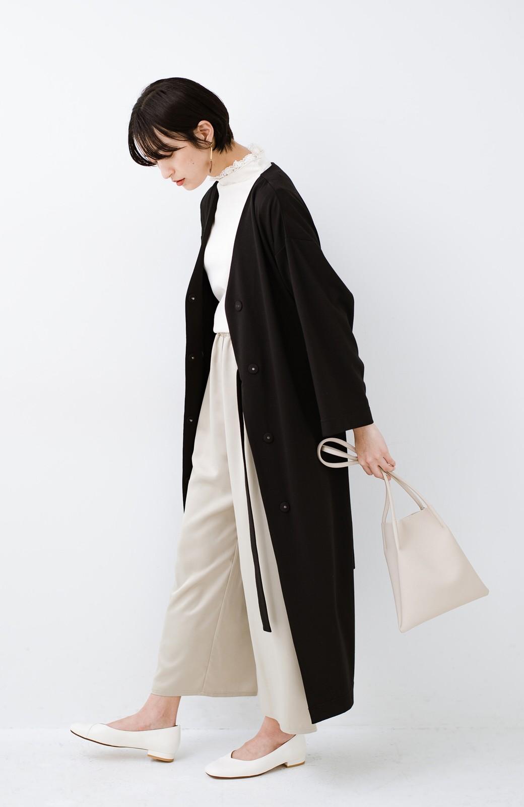 haco! サイドリボンと落ち感が女っぽい 羽織り&重ね着を楽しむカットソーワンピース <ブラック>の商品写真16
