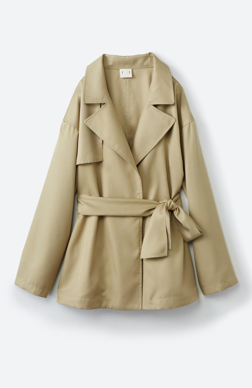 haco! とろみ素材とウエストリボンで女っぽ コートよりも気軽に羽織れるトレンチジャケット <ベージュ>の商品写真18