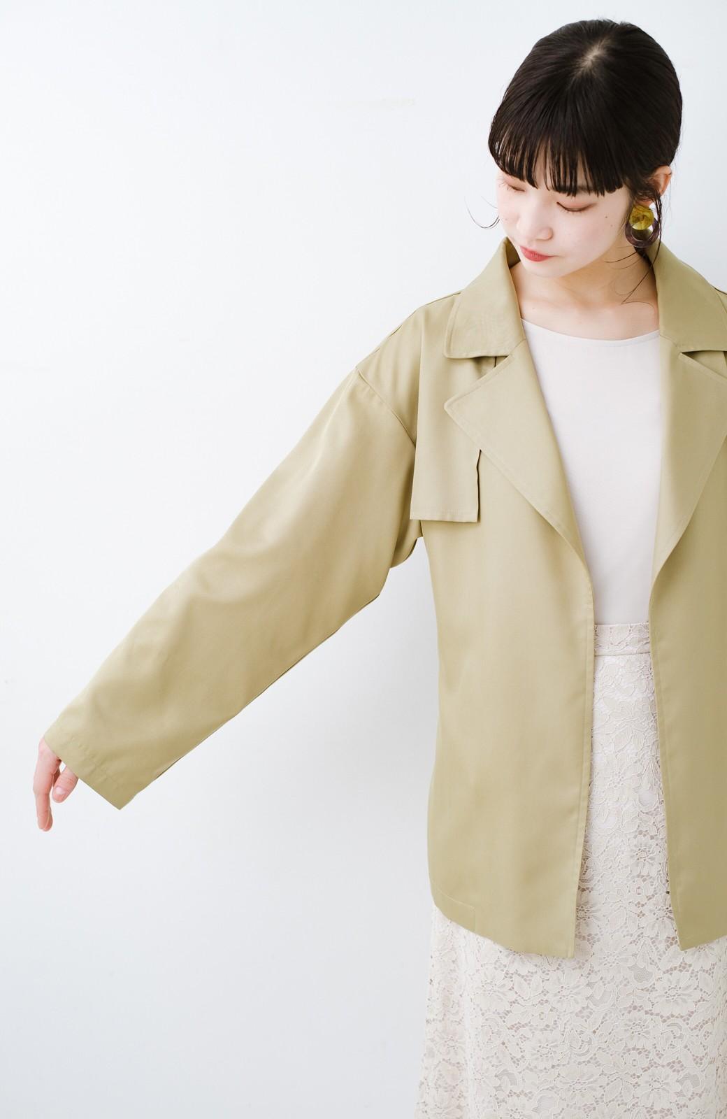 haco! とろみ素材とウエストリボンで女っぽ コートよりも気軽に羽織れるトレンチジャケット <ベージュ>の商品写真13
