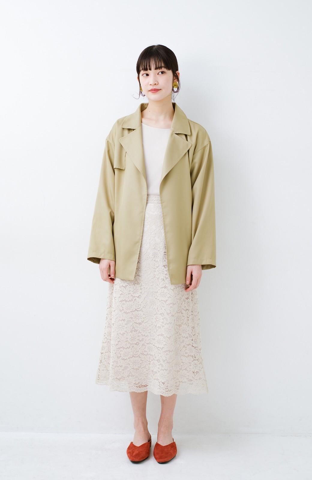 haco! とろみ素材とウエストリボンで女っぽ コートよりも気軽に羽織れるトレンチジャケット <ベージュ>の商品写真7